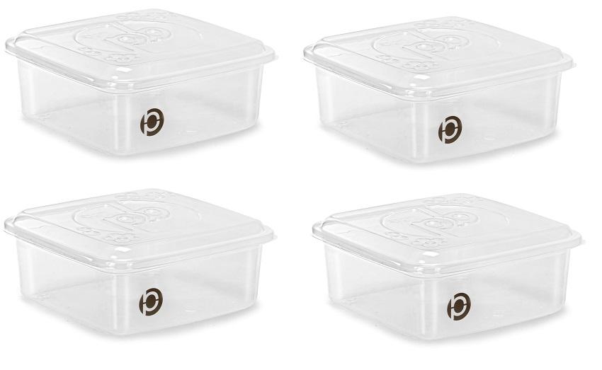 Kit 4 potes plásticos (estilo tupperware) Plastbon 1521