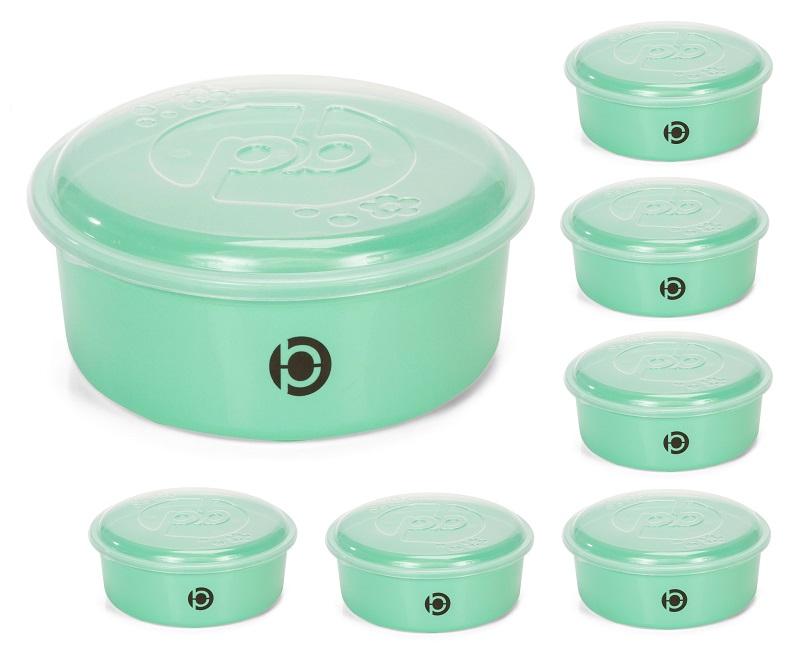 Kit 7 potes plásticos (estilo tupperware) Plastbon Redondo1555