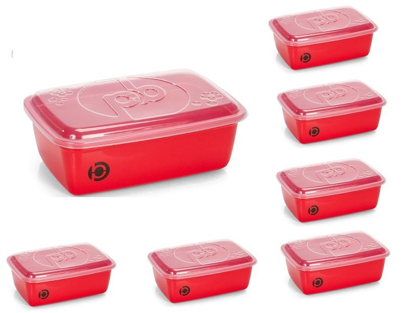Kit 7 potes plásticos (estilo tupperware) Plastbon Retangular 1556