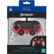 Controle Nacon com Fio Transparente - Ps4 (LED Vermelho)