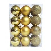 Kit C/24 Bolas de Natal Lisas/Foscas/Glitter de 6cm - Dourado