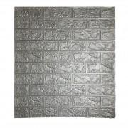 Painel Placa 3D Tijolo Prata Espuma Adesiva 77 X 70 Parede
