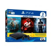 Playstation 4 Slim - 1 Terabyte + 3 Jogos (God of War + Gran Turismo + Uncharted 4)