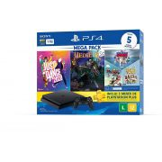 Playstation 4 Slim - 1 Terabyte + 5 Jogos (Just Dance 2020 + Medievil + Knowledge is Power + Frantics + That's You!)