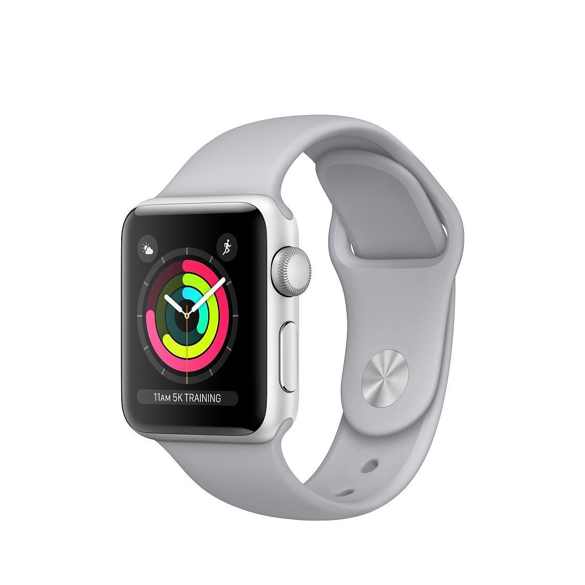 Apple Watch Series 3 GPS, 38 mm, Aço Inoxidável Cinza Espacial, Pulseira Esportiva Prata