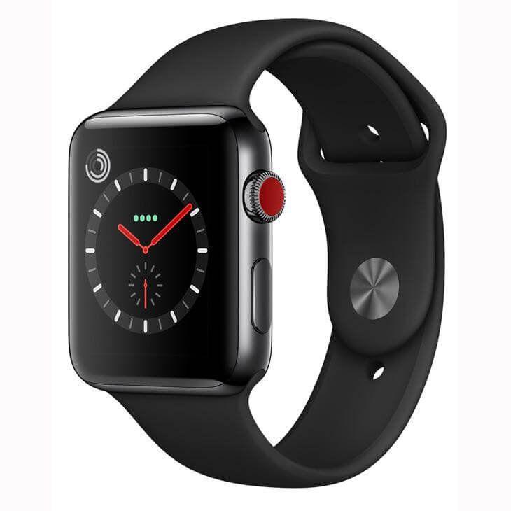 Apple Watch Series 3 GPS, 42 mm, Aço Inoxidável Cinza Espacial, Pulseira Esportiva Preto