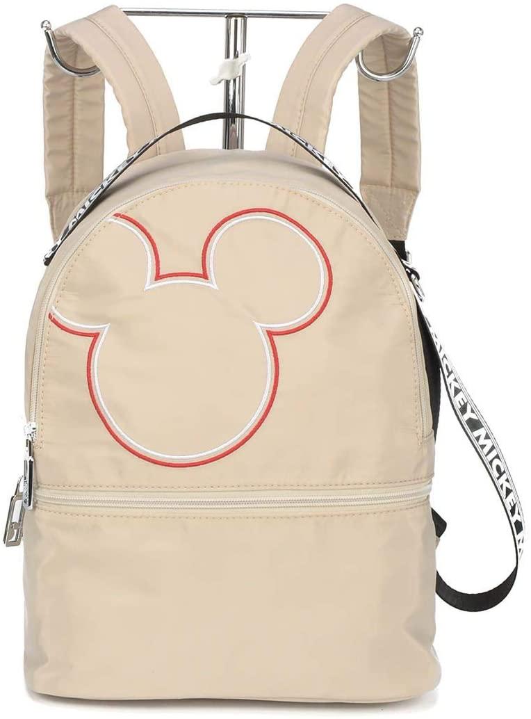 Bolsa Mochila Feminina Nylon Disney Mickey Mouse Bege