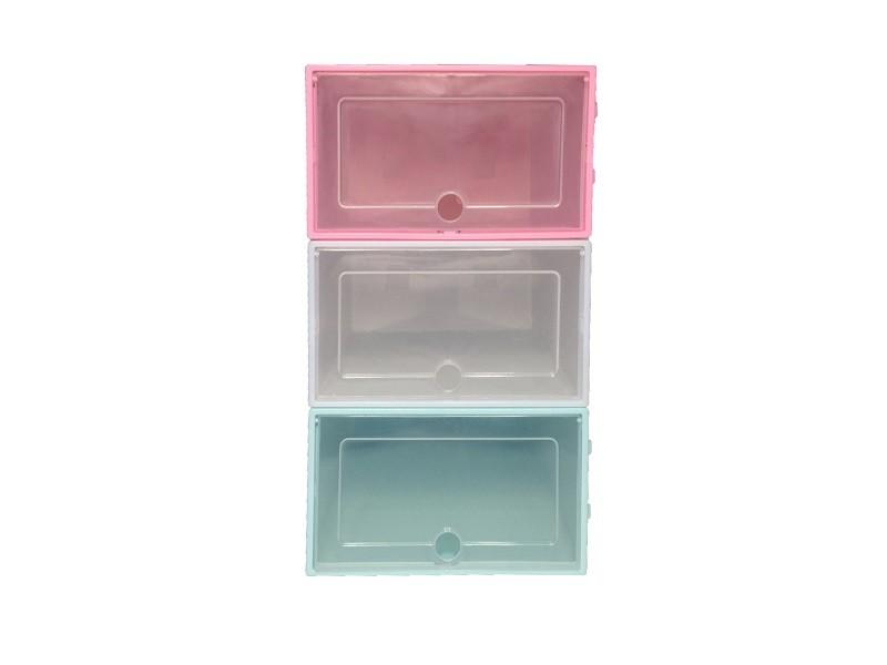 Caixa de Sapato Transparente Plástica - Azul (Unidade)