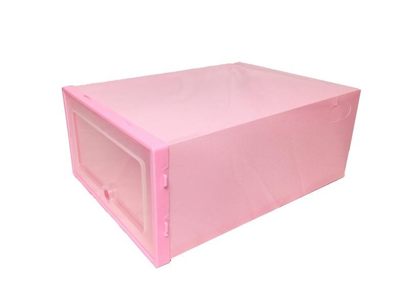 Caixa de Sapato Transparente Plástica - Rosa (Unidade)