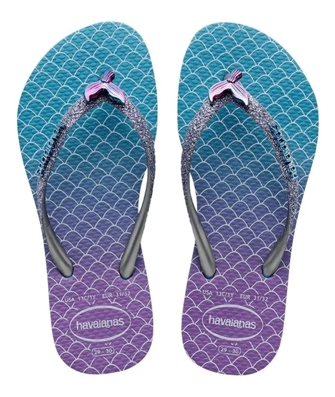 Chinelo Havaianas Kids Slim Glitter Sereia - Azul