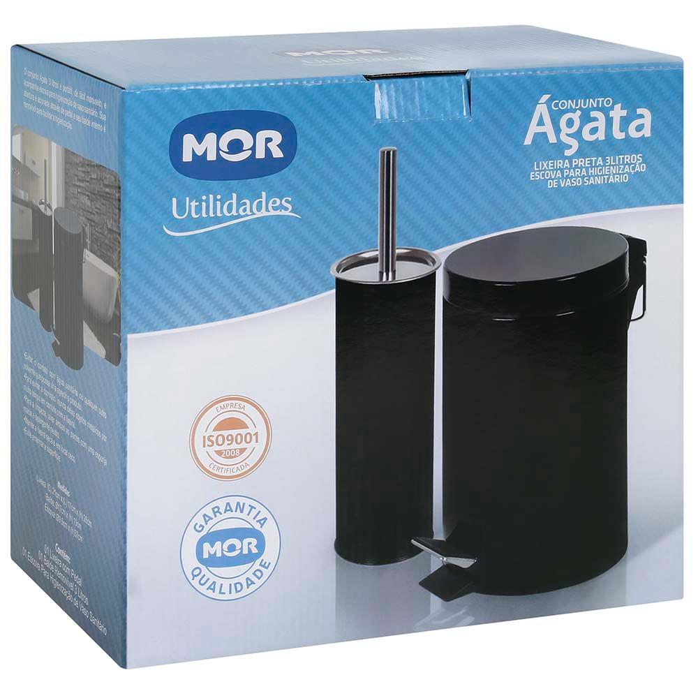 Conjunto Ágata Lixeira 3L e Escova para Higienização de Vaso Sanitário - Mor
