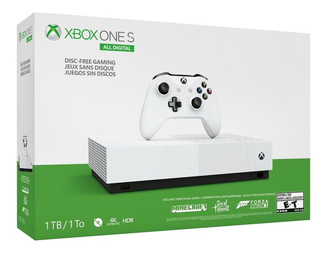 Console Xbox One S - 1 Terabyte + HDR + 4K Streaming All Digital + 3 Jogos ( Minecraft, Sea of Thieves e Forza Horizon 3) (2 Controles)