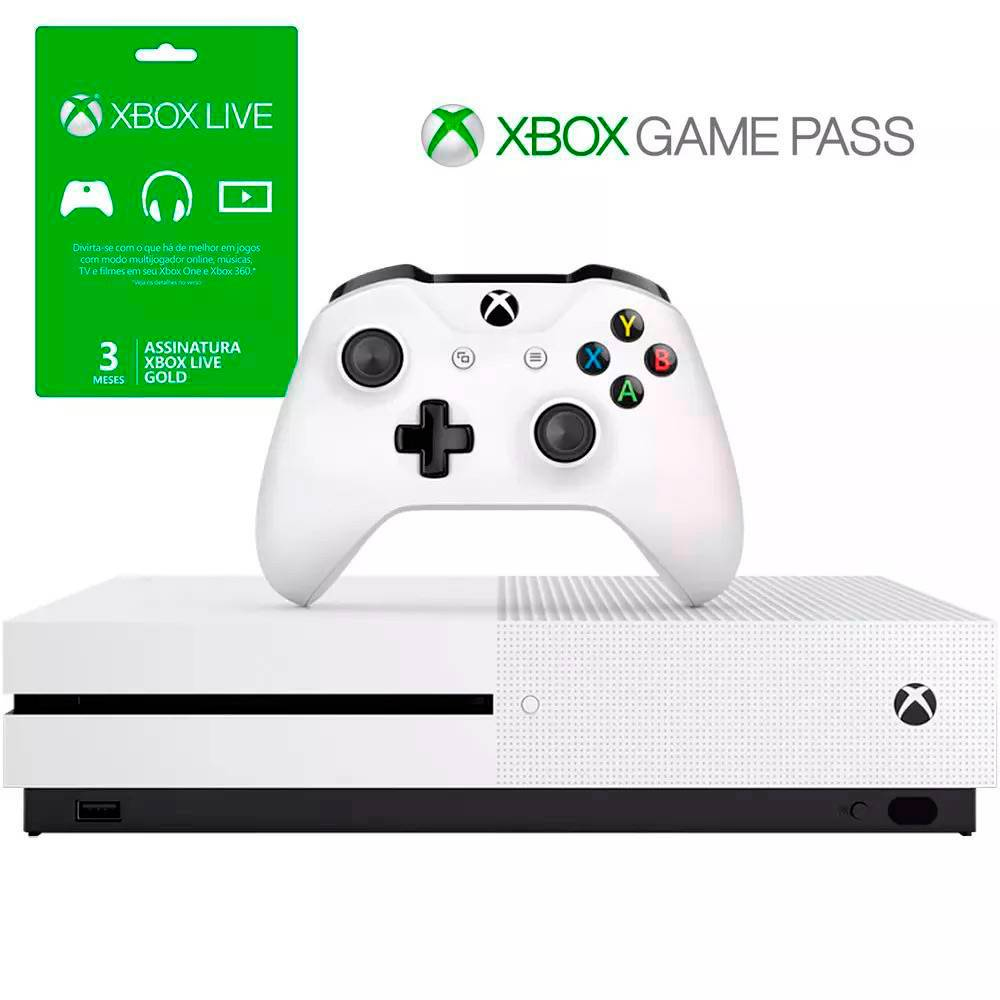 Console Xbox One S - 500 Gb + HDR + 4K Streaming + 3 Meses de Live Gold + 3 Meses de Gamepass
