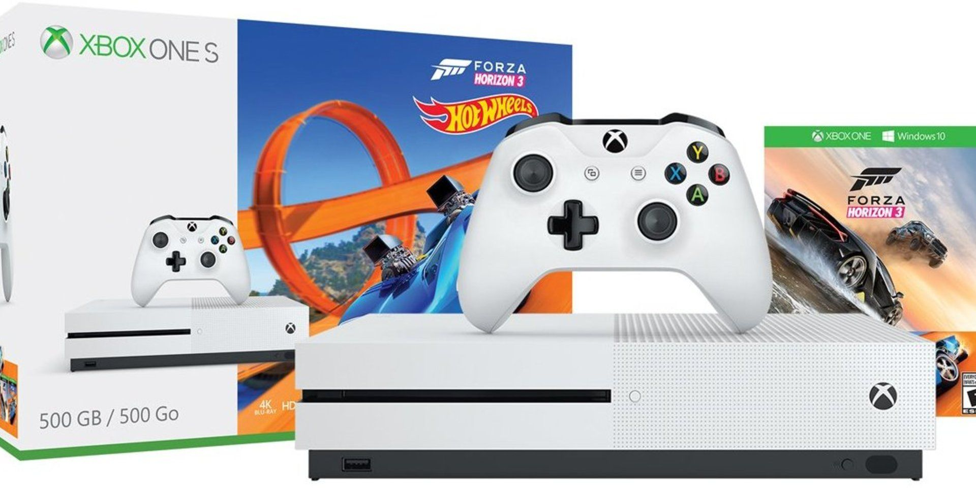 Console Xbox One S - 500 Gb + HDR + 4K Streaming + Jogo Forza Horizon 3 + Jogo Hot Wheels