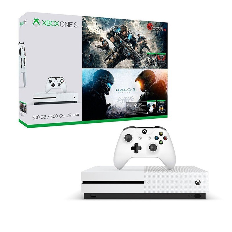 Console Xbox One S - 500 Gb + HDR + 4K Streaming + Jogo Halo 5 + Jogo Gears of War 4