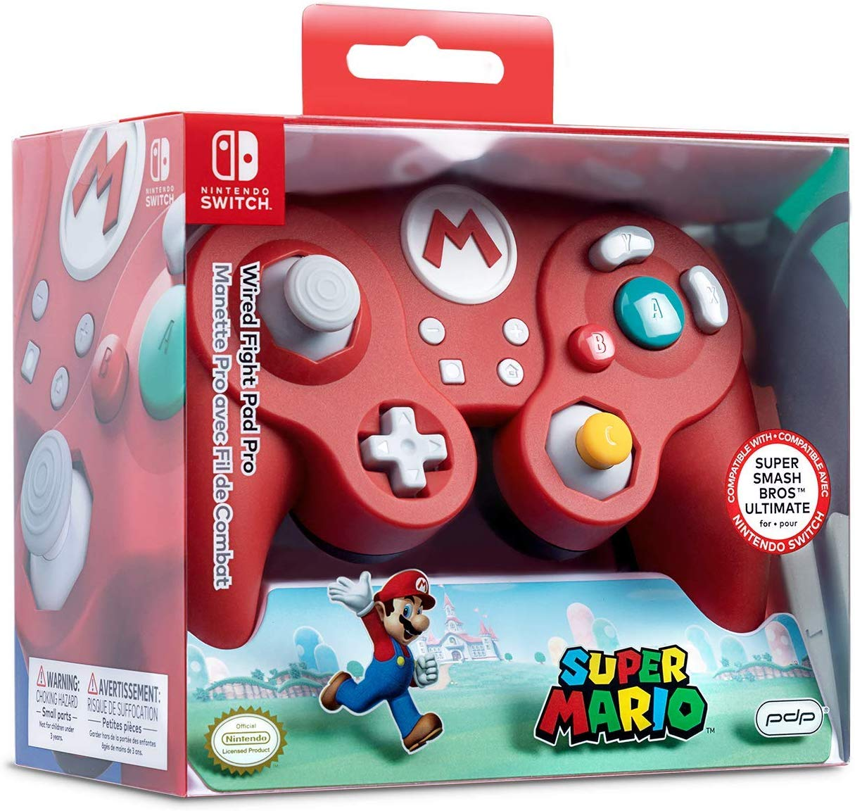Controle Com Fio USB Wired Fight Pad Mario Hori - Switch / PC