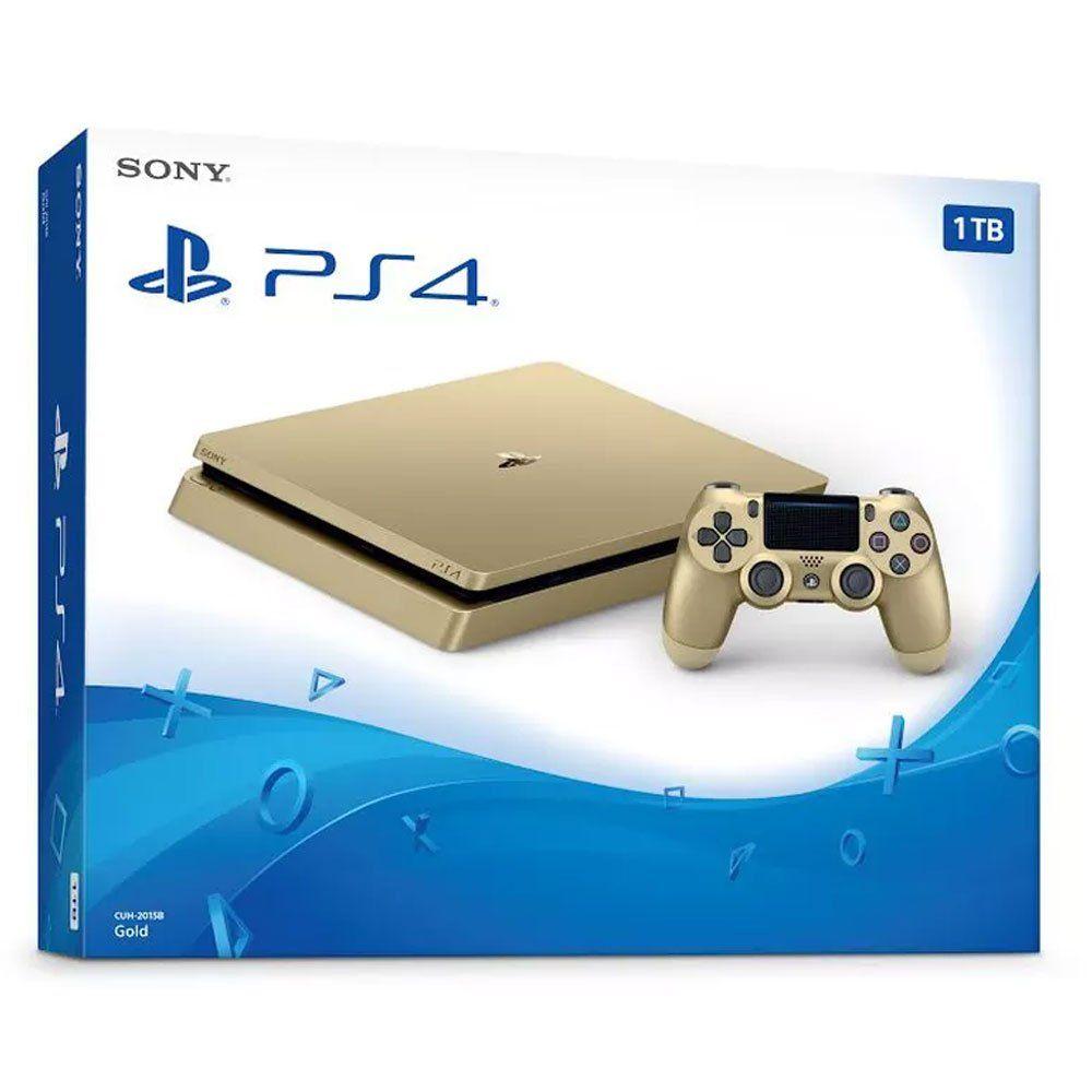Playstation 4 - 1 Terabyte Slim Dourado + Cabo HDMI + 15 Jogos PSN (2 Controles)