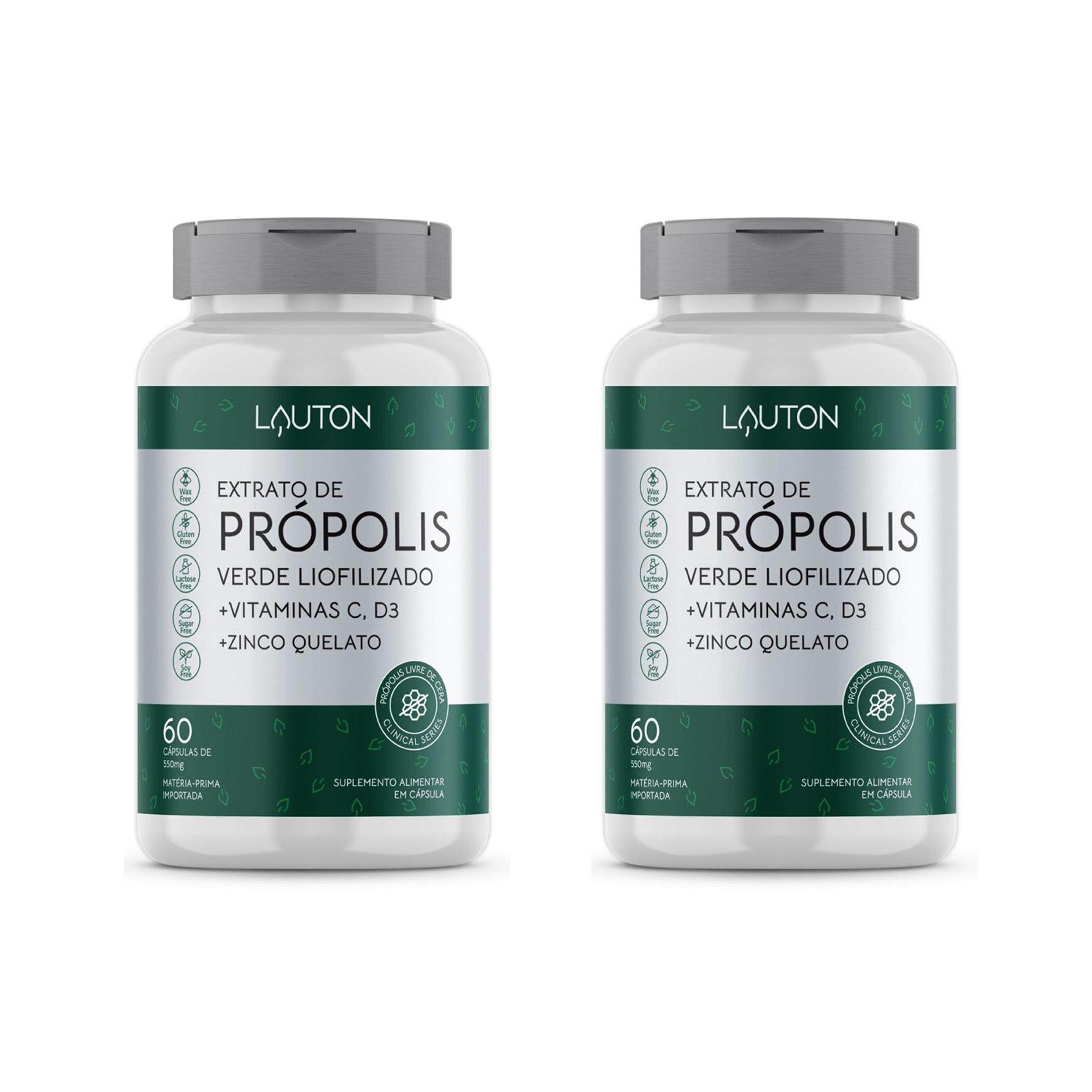 Extrato de Própolis Verde Liofilizado - 60 Cápsulas - Lauton Nutrition (2 Unidades)