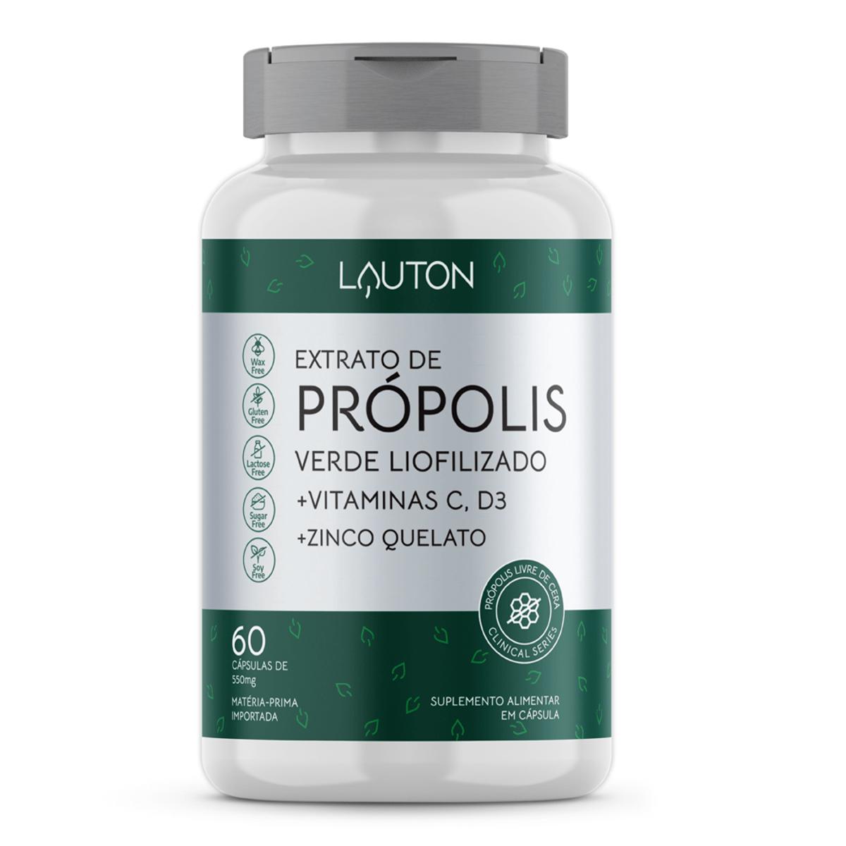 Extrato de Própolis Verde Liofilizado - 60 Cápsulas - Lauton Nutrition