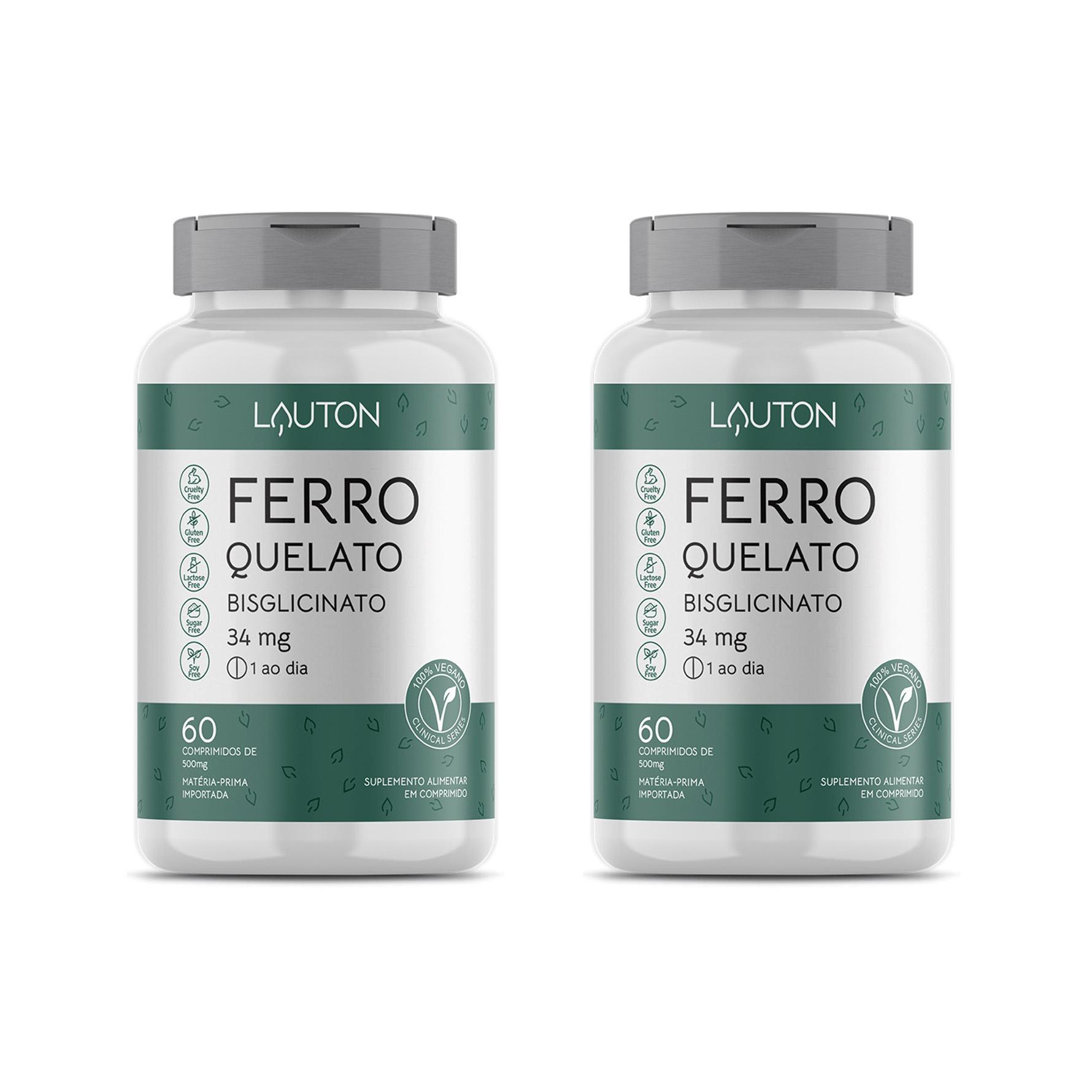 Ferro Quelato Bisglicinato 34mg - 60 Comprimidos - Lauton Nutrition (2 Unidades)