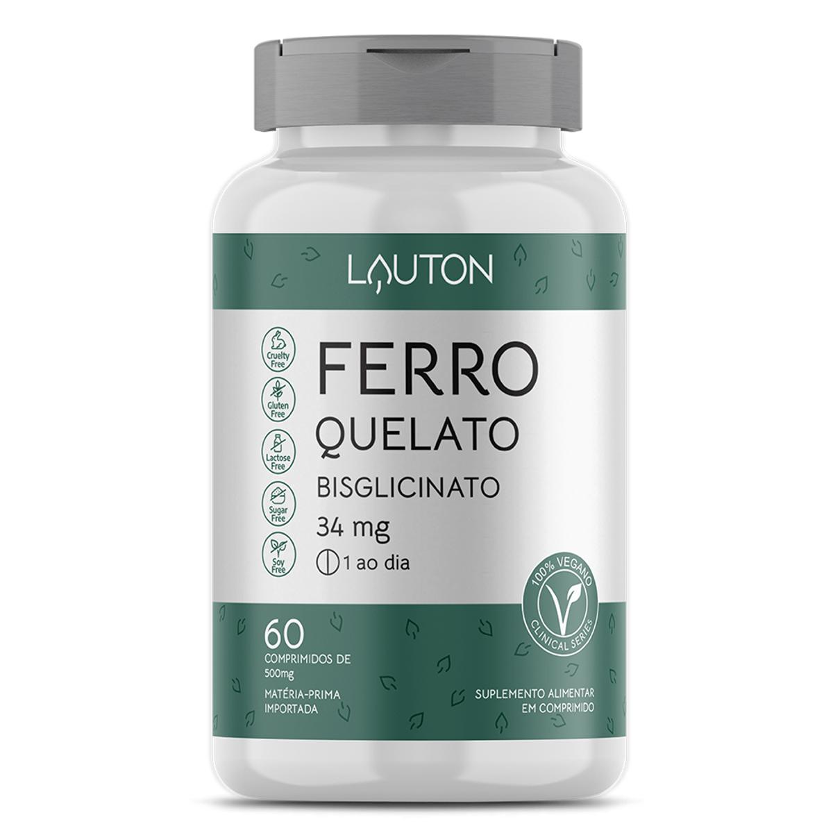 Ferro Quelato Bisglicinato 34mg - 60 Comprimidos - Lauton Nutrition