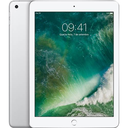 "iPad 6 Apple 32GB Prata Tela 9.7"" Retina - Proc. Chip A10 Câm. 8MP + Frontal iOS 11 Touch ID"