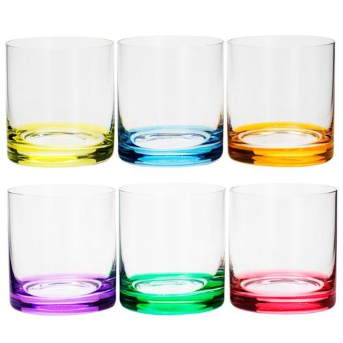 Jogo de 6 copos baixos em cristal ecológico 320ml A8,5cm colorido