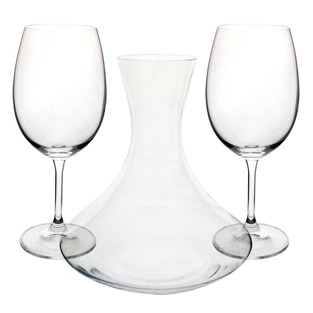 Jogo de decanter e 2 taças em cristal ecológico - Dynasty