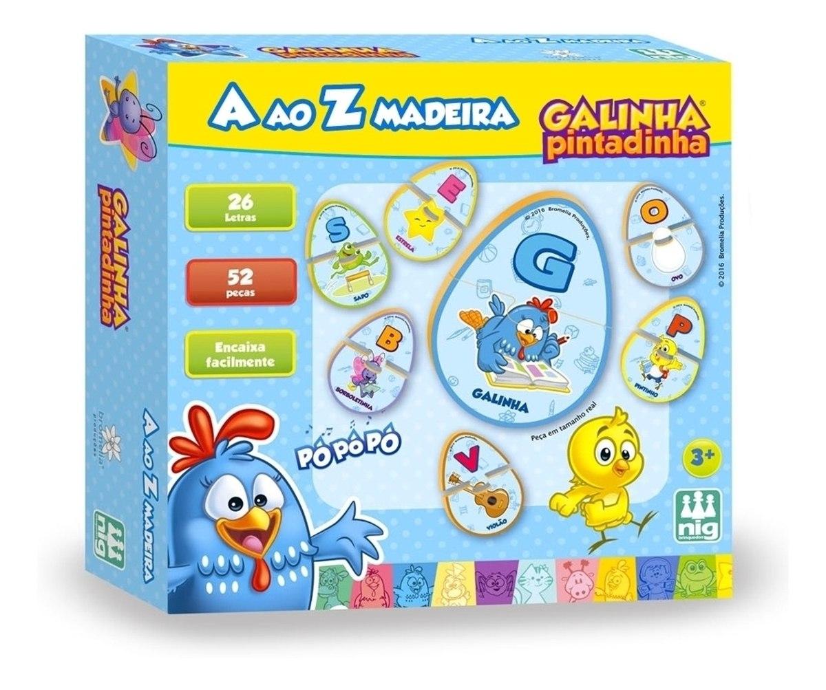 Jogo de Madeira de A ao Z - Galinha Pintadinha - Nig Brinquedos