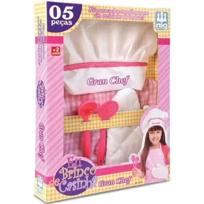 Kit Avental E Chapéu Gran Chef Infantil Rosa - Nig Brinquedos