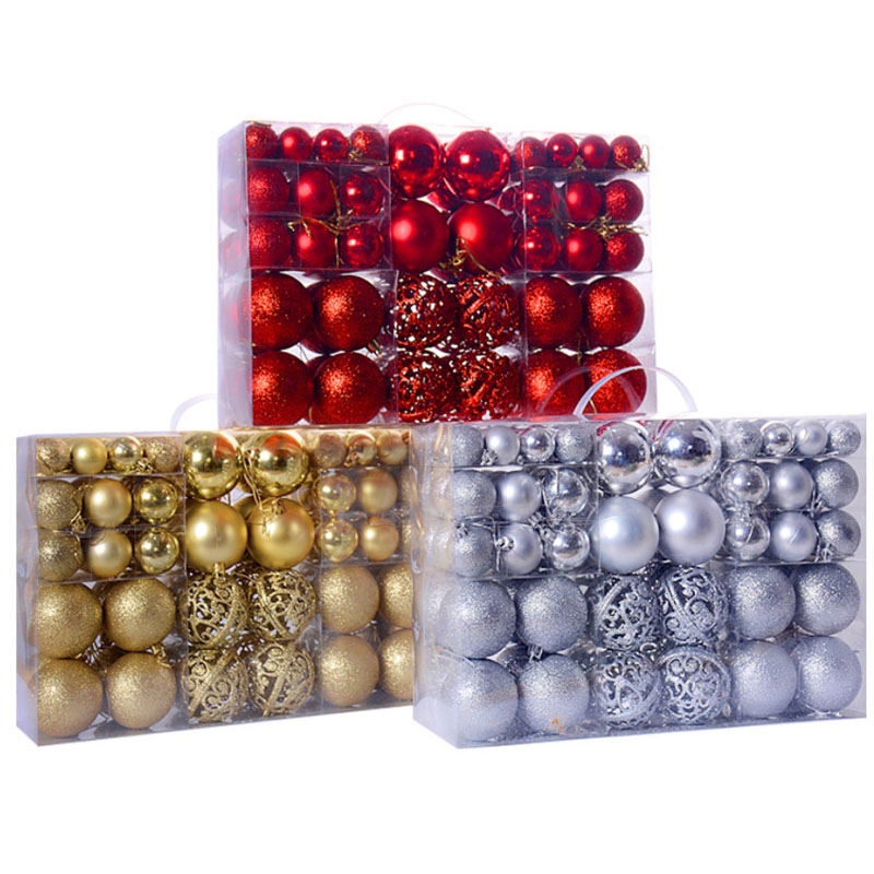 Kit C/100 Bolas de Natal Lisas/Foscas/Glitter - Vermelha