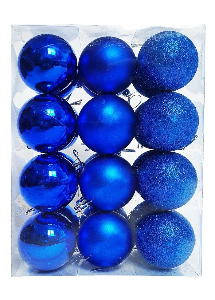 Kit C/24 Bolas de Natal Lisas/Foscas/Glitter de 6cm - Azul Escuro