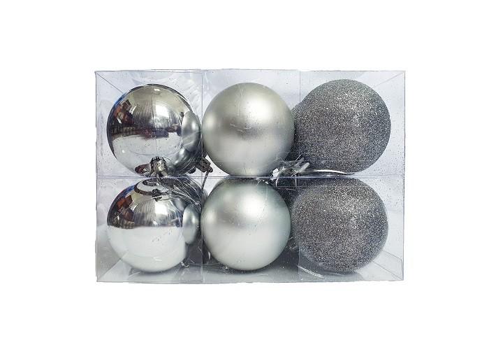 Kit C/24 Bolas de Natal Lisas/Foscas/Glitter de 6cm - Prata