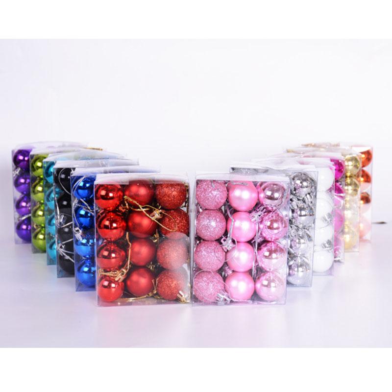 Kit C/24 Bolas de Natal Lisas/Foscas/Glitter de 6cm - Rosa