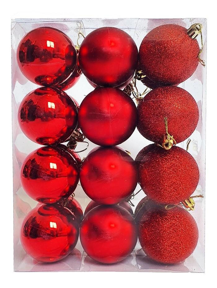 Kit C/24 Bolas de Natal Lisas/Foscas/Glitter de 6cm - Vermelha
