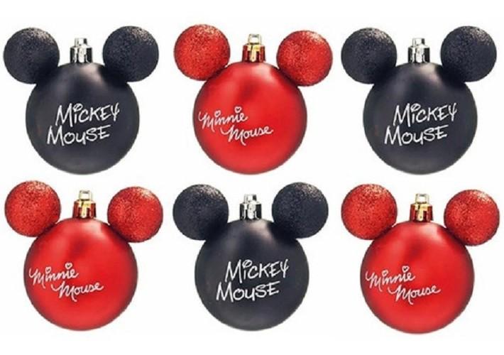 Kit C/6 Bolas de Natal 6cm - Assinatura Mickey e Minnie