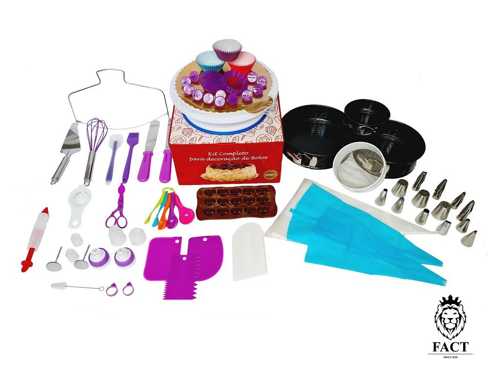 Kit Confeiteiro Profissional p/ Decoração - 269 Peças