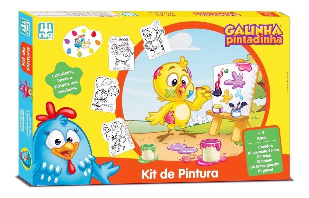 Kit de Pintura Infantil Galinha Pintadinha com Cavalete - Nig Brinquedos