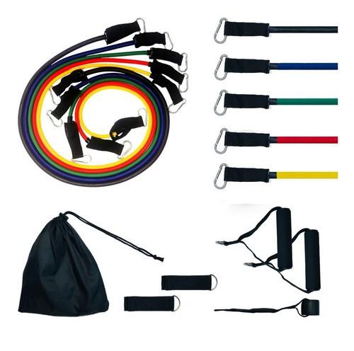 Kit Tubing Elástico 11 Itens - Treinamento Funcional Pilates