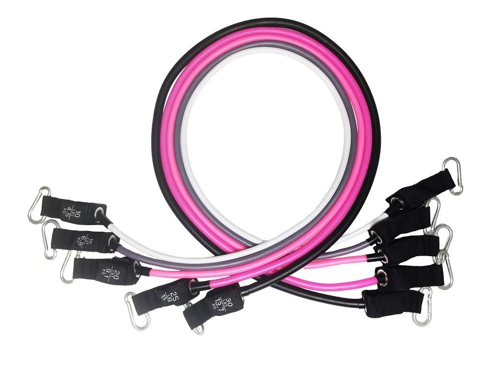 Kit Tubing Elástico 11 Itens - Treinamento Funcional Pilates Rosa