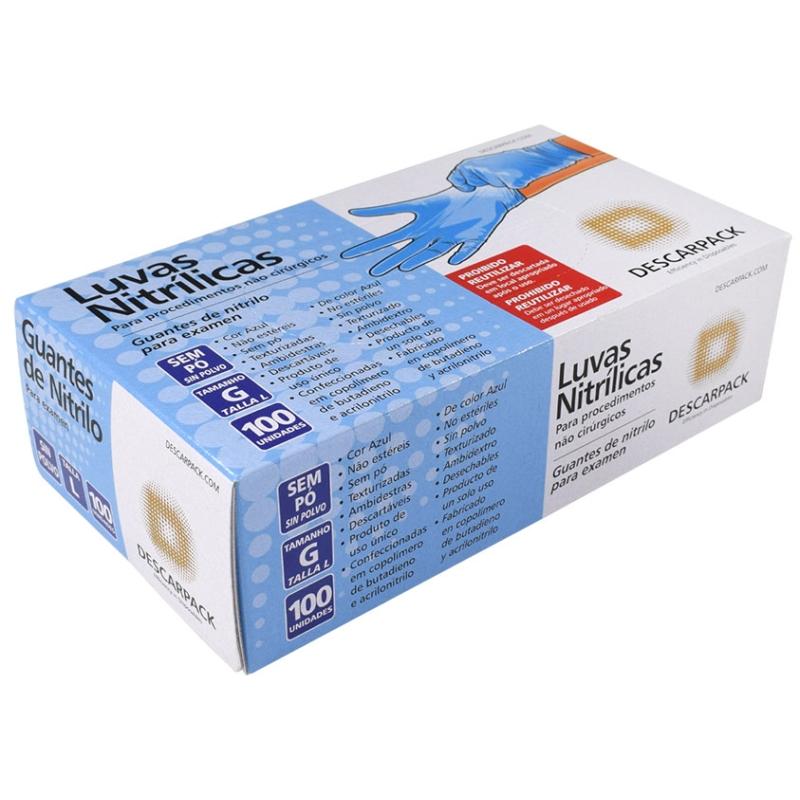 Luva Nitrílica sem Pó (Powder Free) Descarpack (100 unidades)