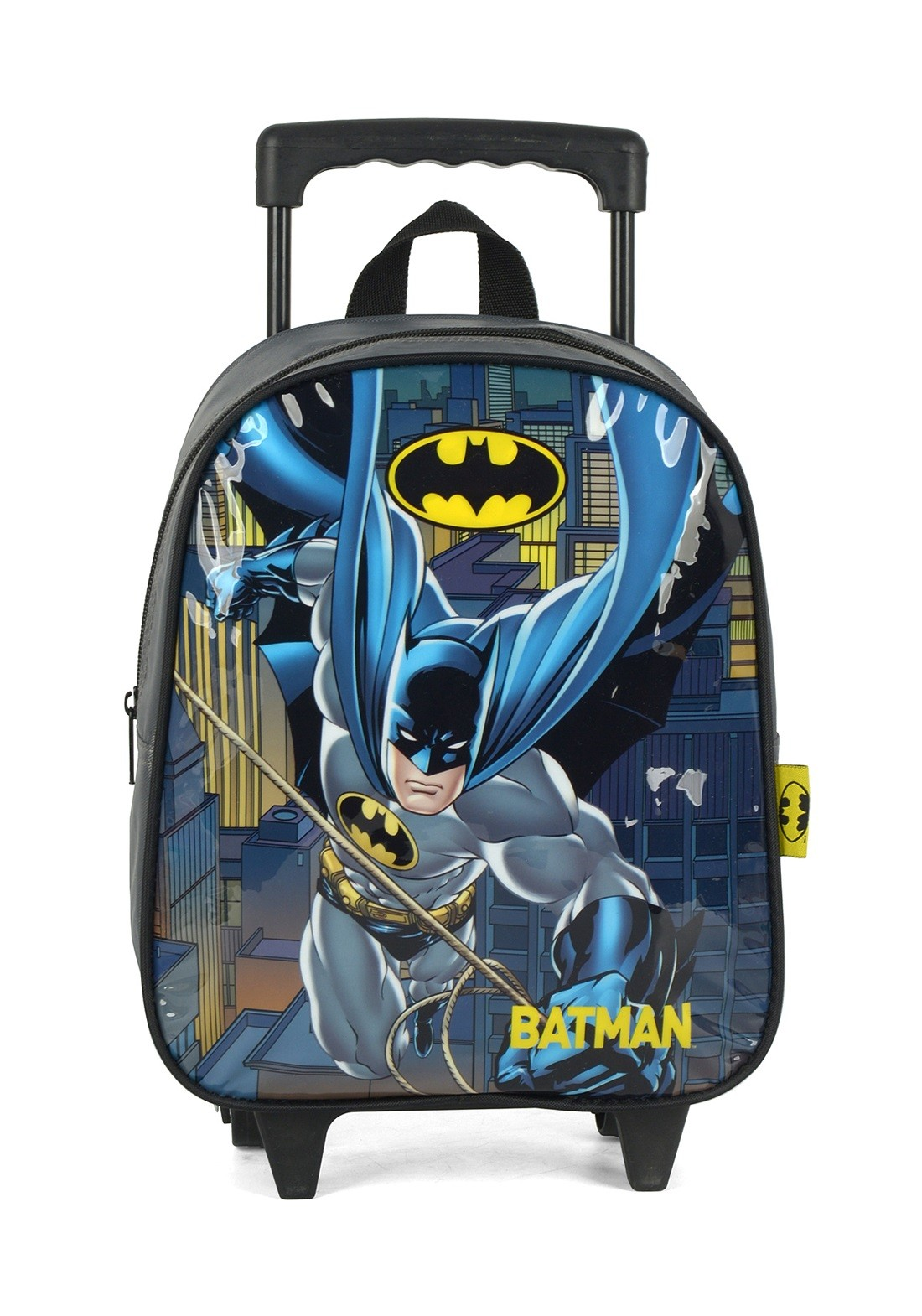 Mochila com Rodas Infantil Batman Cinza