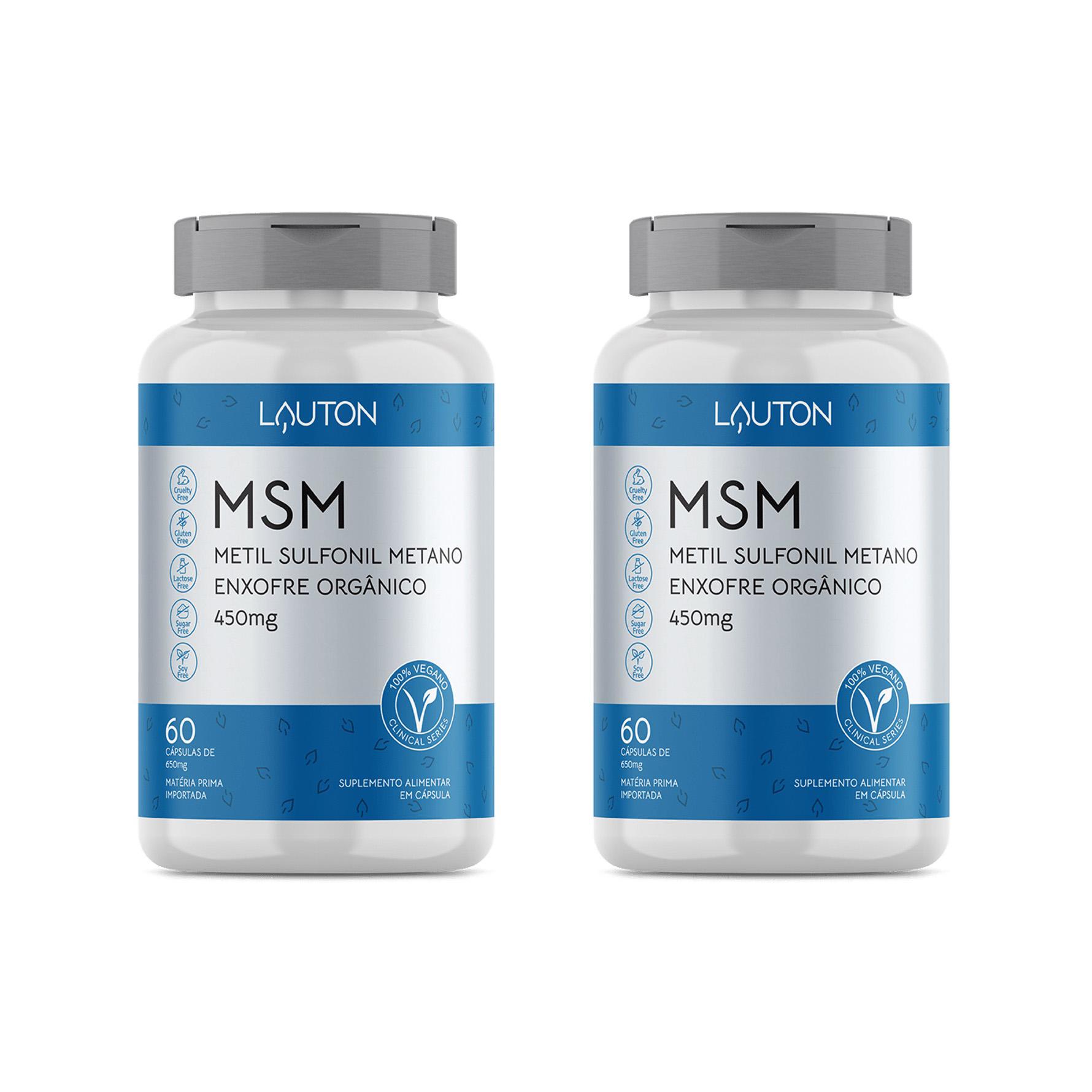 MSM - Metil Sulfonil Metano 450mg - 60 Cápsulas - Lauton Nutrition (2 Unidades)