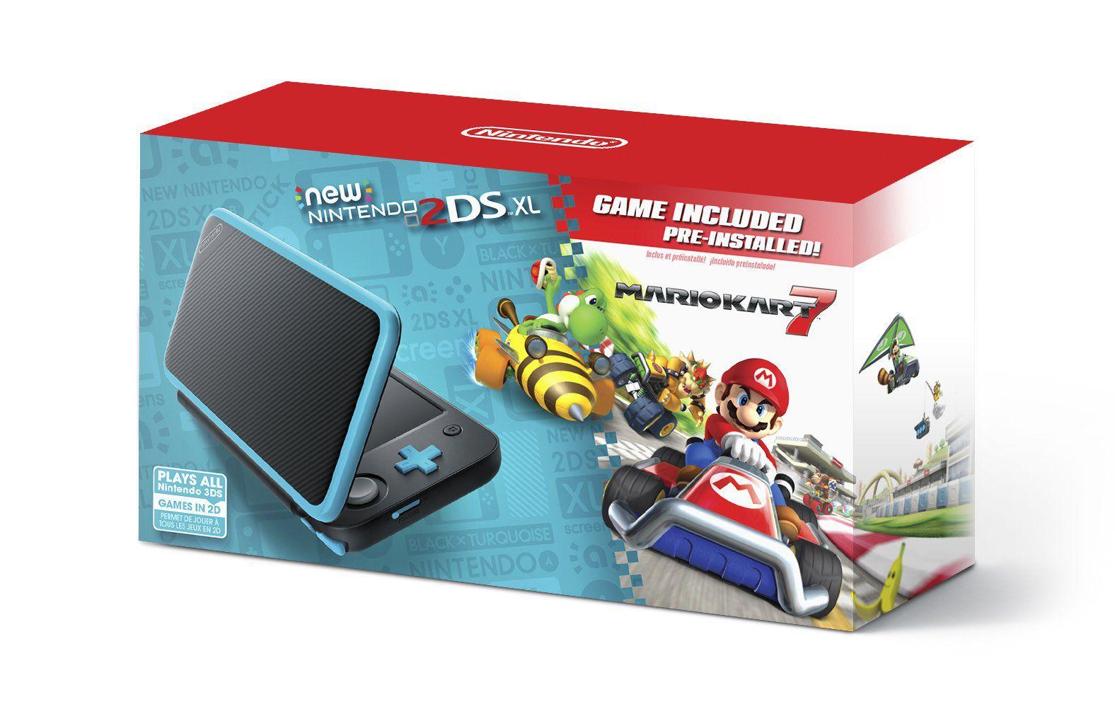 New Nintendo 2Ds XL - Preto e Azul + Jogo Mario Kart 7