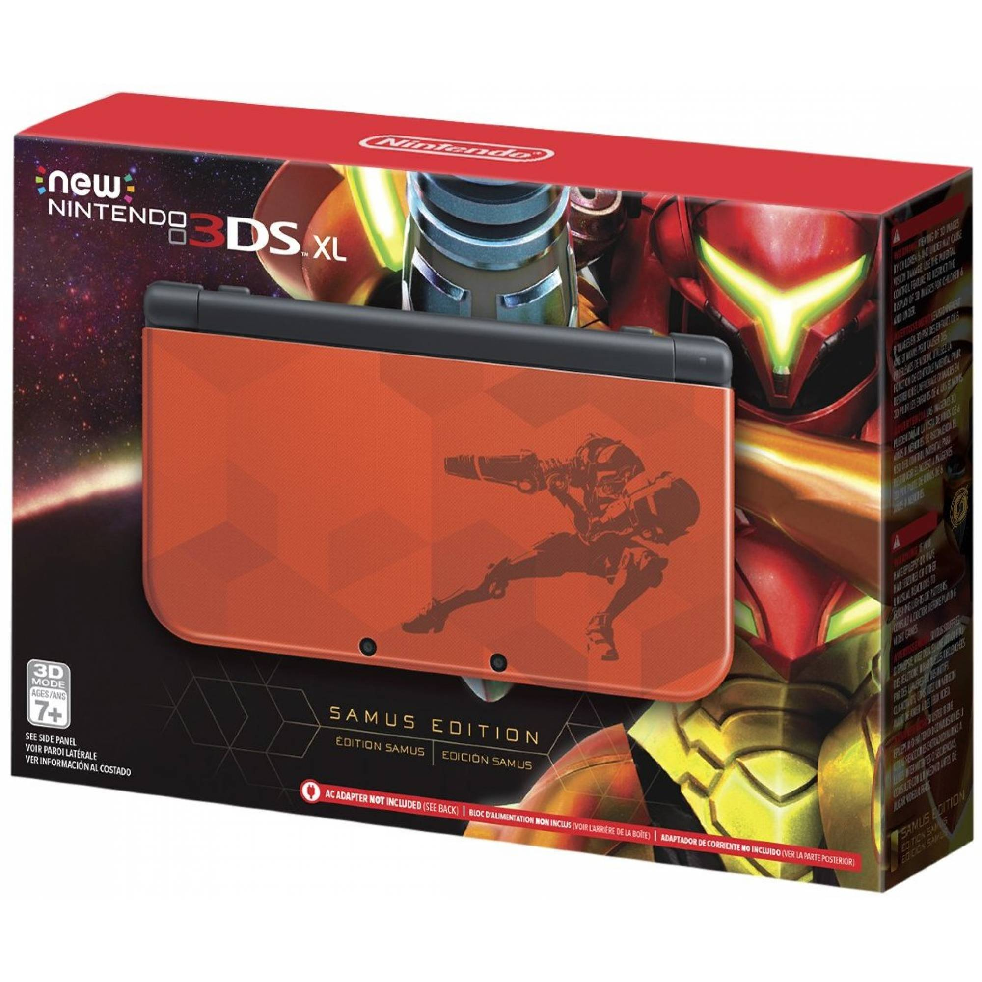 New Nintendo 3Ds XL Edição Samus + Carregador Original Nintendo + R4 + 8Gb + 400 Jogos