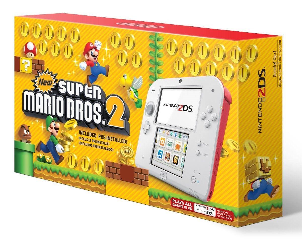 Nintendo 2Ds Branco e Vermelho + Jogo Super Mario Bros. 2 + 30 Jogos 3D na Memória