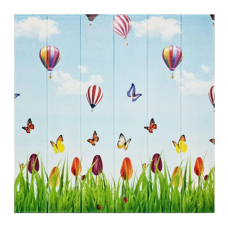 Painel Placa 3d Estilo Borboletas e Balões Adesiva 77 X 70