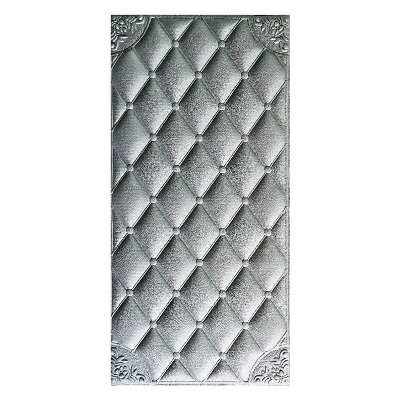 Painel Placa 3D Estilo Espuma Adesiva Losango Prata 60 X 30 Parede