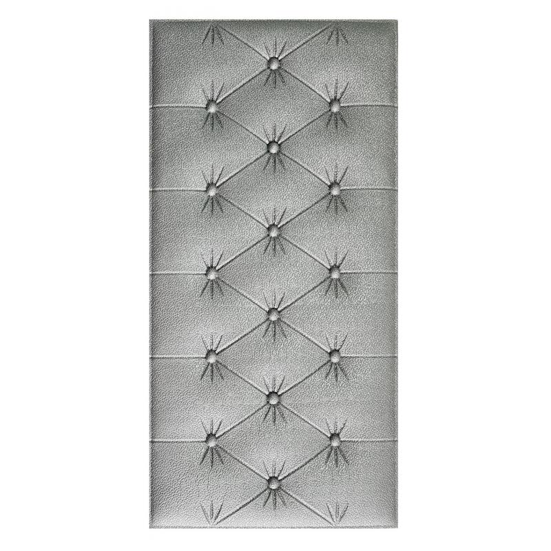 Painel Placa 3D Estilo Espuma Adesiva Prata 60 X 30 Parede