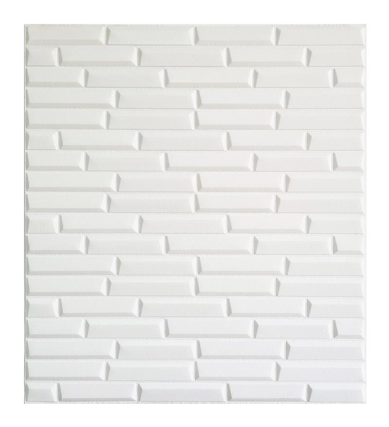 Painel Placa 3D Estilo Espuma Adesiva Tijolinho Branco 77 X 70 Parede